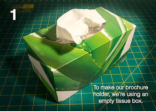 diy make your own brochure holder from a tissue box
